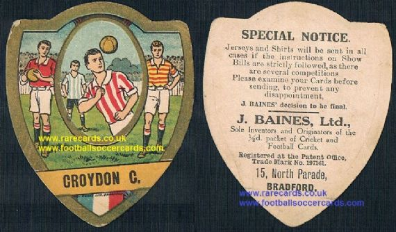 1910 Baines Ltd football card Croydon Common FC Crystal Palace fans interest